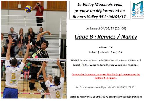 Le Volley Moulinois vous propose un déplacement au Rennes Volley 35 le 04/03/17
