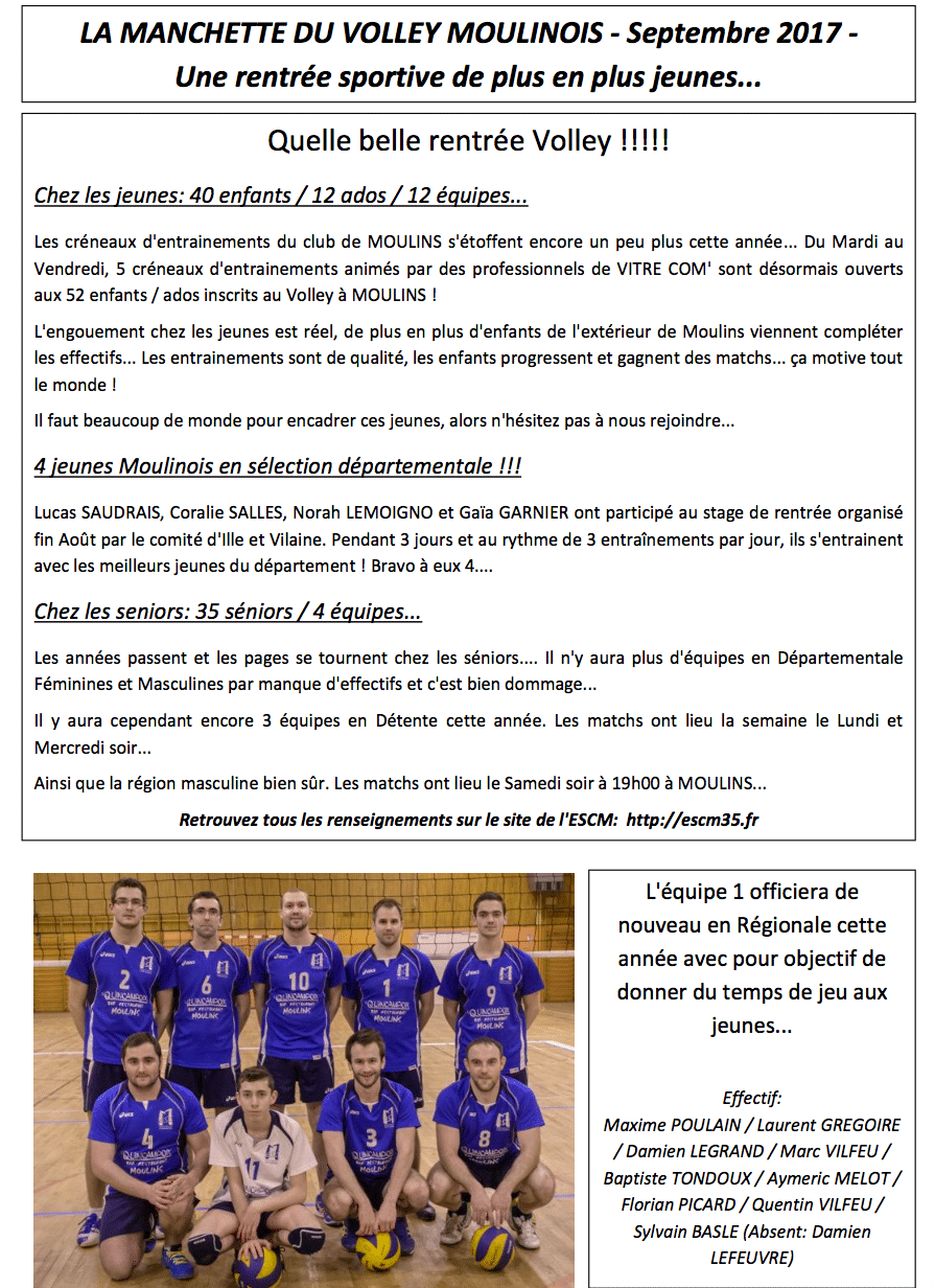 La manchette du volley Moulinois